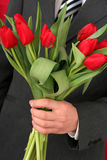 Man Holding Tulips Royalty Free Stock Image