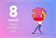 Man Holding Tulips Flowers And Red Hearts Happy Women Day 8 March Holiday Concept. Flat Vector Illustration Royalty Free Stock Photography
