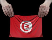 Man holding Tunisian flag Royalty Free Stock Images