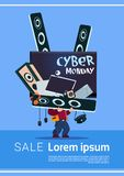 Man Holding Tv Plasma And Modern Electronics Gadgets Cyber Monday Sale Banner Design Concept. Vector Illustration Stock Photography