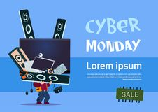 Man Holding Tv Plasma And Modern Electronics Gadgets Cyber Monday Sale Banner. Design Concept Vector Illustration Royalty Free Stock Images