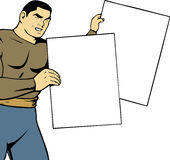 Man holding two blank board. Stock Image