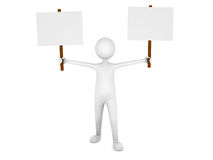 Man holding two blank sign boards. 3D render Stock Photography