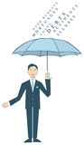 Man holding umbrella. Man protected by umbrella against health and finance crisis Royalty Free Illustration