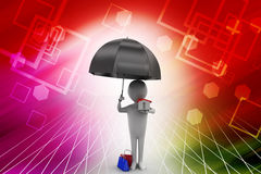 Man holding a umbrella and a house illustration Royalty Free Stock Images