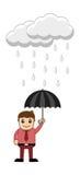 Man Holding an Umbrella in Rain Stock Photo