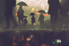 Free Man Holding Umbrella Standing Alone In A Crowds Of People Royalty Free Stock Photo - 85465565
