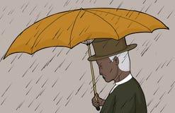 Man Holding Umbrella in Storm Stock Photo