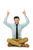 Man holding up blank sign above his head Royalty Free Stock Images
