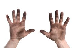 Man holding up hands with dirt Royalty Free Stock Image