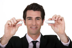 Man holding USB stick Royalty Free Stock Photo