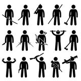 Man Holding and Using Weapons Icons Royalty Free Stock Photo