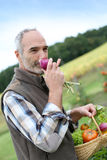 Man holding a vegetable basket outdoor Royalty Free Stock Images