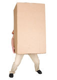 Man holding very heavy brown cardboard box. On white Royalty Free Stock Photo