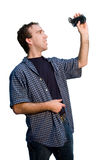 Man Holding Video Camera Royalty Free Stock Photography