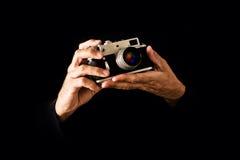 Man Holding Vintage Camera Stock Photos