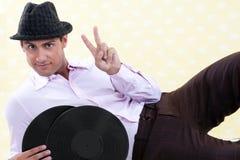Man Holding Vinyl Record Stock Photos