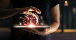 Free Man Holding Virtual Globe With Marketing Network Connecting Icons On Tablet. Innovation Technology Develop Sustainable Future Royalty Free Stock Image - 216496456
