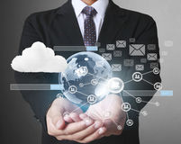 Man holding virtual icon of social network Royalty Free Stock Images