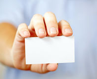 Man holding visiting card Royalty Free Stock Photo