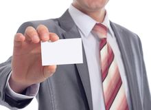Man holding visiting card Stock Images