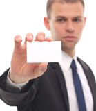 Man holding visiting card Stock Photo