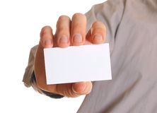 Man holding visiting card Royalty Free Stock Images
