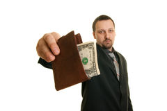Man holding wallet with money Stock Images