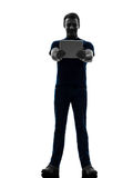Man holding watching  digital tablet  silhouette. One  man holding watching digital tablet in silhouette on white background Royalty Free Stock Photos