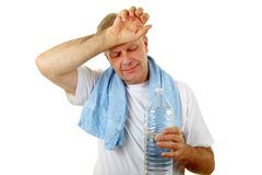 Man holding a water bottle Royalty Free Stock Photos