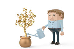 A man holding a watering pot to water the gold tree.3D illustrat. A man holding a watering pot to water the gold tree Royalty Free Stock Photo