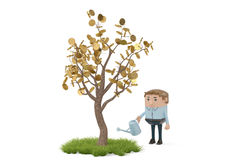 A man holding a watering pot to water the gold tree.3D illustrat Royalty Free Stock Photography