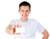 Man holding  white blank Royalty Free Stock Photography