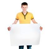 Man holding  white blank Stock Image