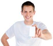 Man holding  white blank Royalty Free Stock Photos
