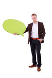 Man holding white blank speech bubble with space for text Stock Photos