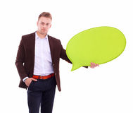 Man holding white blank speech bubble with space for text Royalty Free Stock Photography