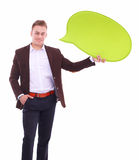 Man holding white blank speech bubble with space for text Royalty Free Stock Photos
