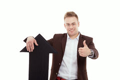 Man holding white blank speech bubble with space for text Royalty Free Stock Images
