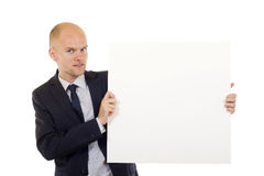 Man holding a white board stock photo