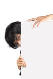 Man holding white board. Man holding a blank white board Stock Photos