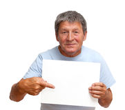 Man holding a white board. Isolated on white background Stock Photos