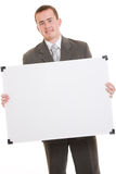 Man holding a white board. Businessman with a white board in his hands on a white background Stock Photos