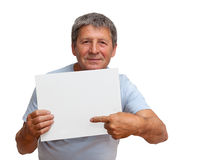 Man holding a white board Stock Photos