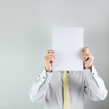 Man holding white board Royalty Free Stock Photos