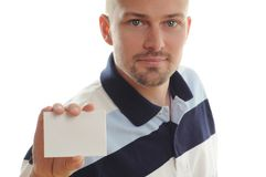 Man Holding White Card Royalty Free Stock Photos