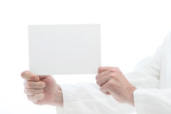 Man holding white card off to the side for reading Stock Photos