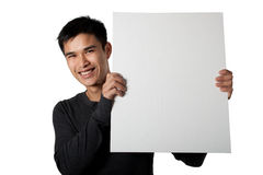 Man holding white sign. While standing on white background Stock Images