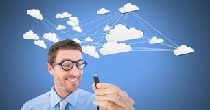 Man holding wire connection with clouds. Digital composite of Man holding wire connection with clouds Stock Images