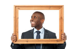 Smiling Guy Looking Through Picture Frame Stock Photo Image Of